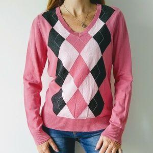 IZOD argyle V-neck long sleeve sweater
